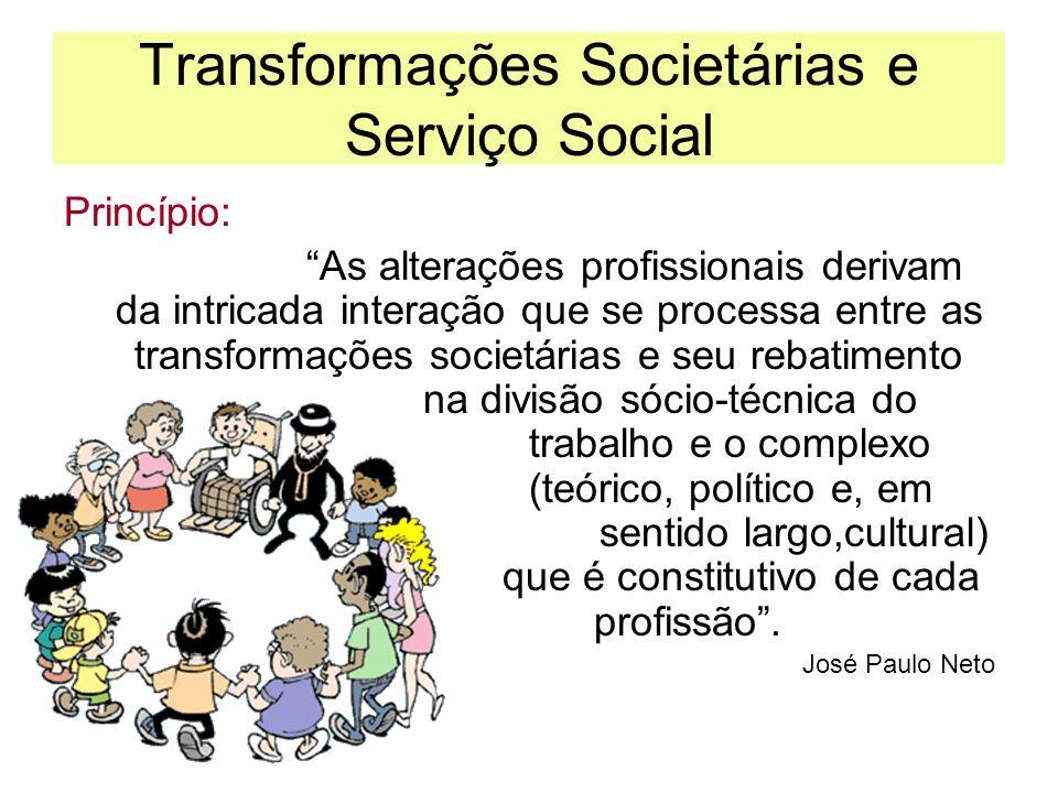 Transformações Societárias e Serviço Social Princípio: As alterações profissionais derivam da intricada interação que se processa entre as transformaç