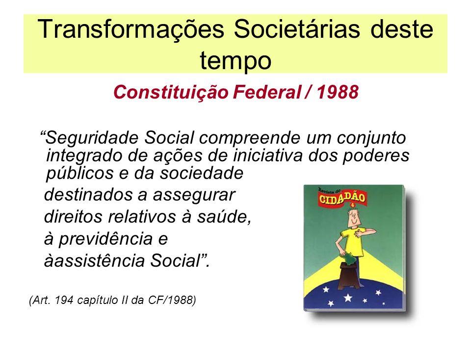 Transformações Societárias deste tempo Constituição Federal / 1988 Seguridade Social compreende um conjunto integrado de ações de iniciativa dos poder