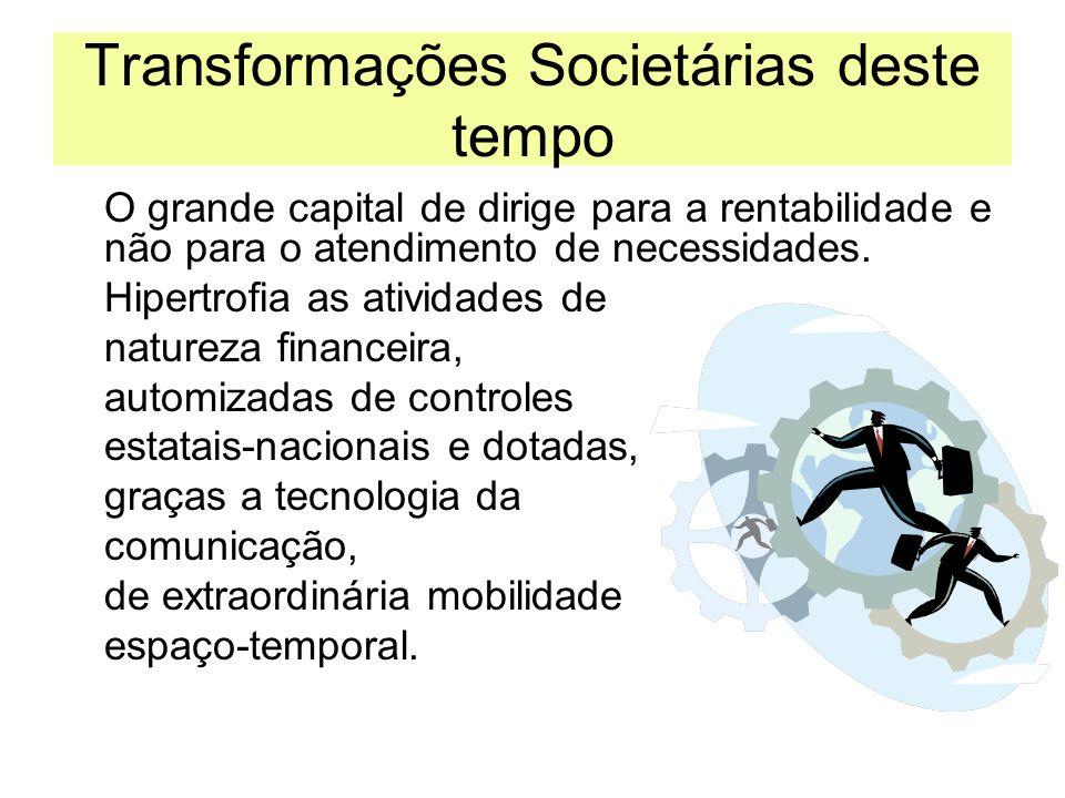 Transformações Societárias deste tempo O grande capital de dirige para a rentabilidade e não para o atendimento de necessidades. Hipertrofia as ativid