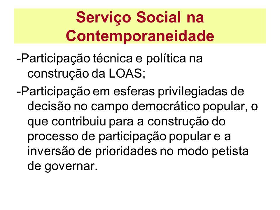 Serviço Social na Contemporaneidade -Participação técnica e política na construção da LOAS; -Participação em esferas privilegiadas de decisão no campo