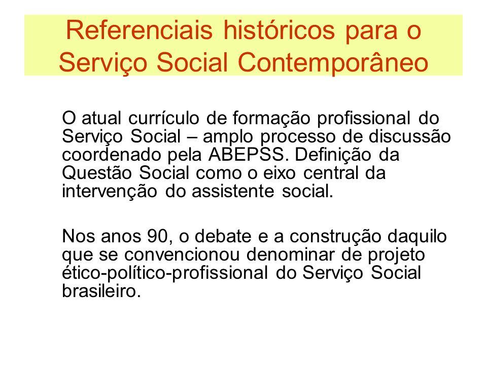 Referenciais históricos teórico-metodológico do Serviço Social Contemporâneo Materialismo Histórico Dialético Teoria Social Crítica Aposta no protagonismo do sujeito.