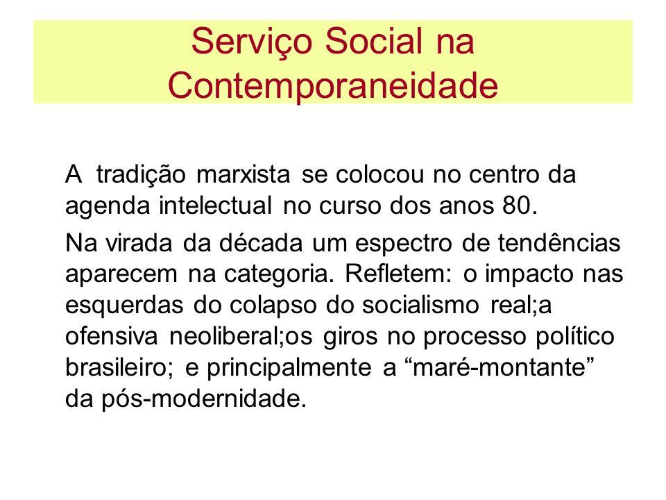 Serviço Social na Contemporaneidade A tradição marxista se colocou no centro da agenda intelectual no curso dos anos 80. Na virada da década um espect
