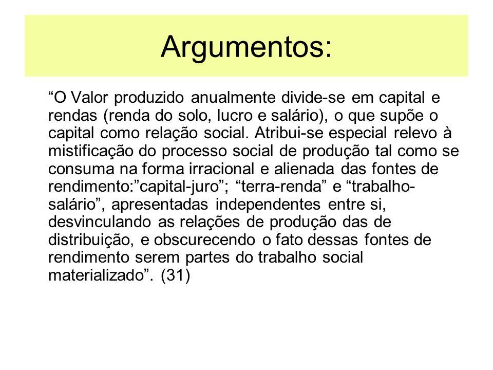 Argumentos: O Valor produzido anualmente divide-se em capital e rendas (renda do solo, lucro e salário), o que supõe o capital como relação social. At