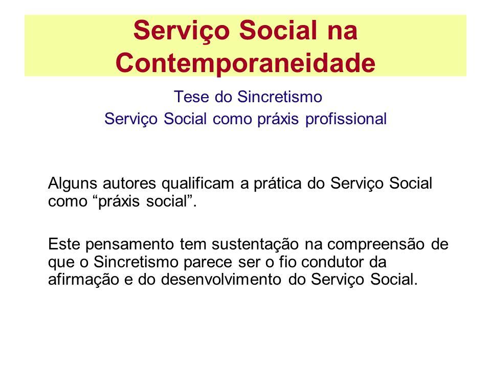 Serviço Social na Contemporaneidade Tese do Sincretismo Serviço Social como práxis profissional Alguns autores qualificam a prática do Serviço Social