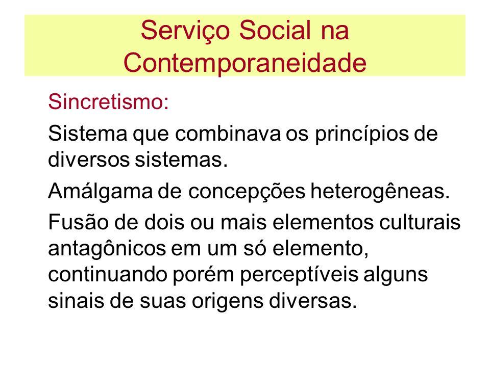 Serviço Social na Contemporaneidade Sincretismo: Sistema que combinava os princípios de diversos sistemas. Amálgama de concepções heterogêneas. Fusão