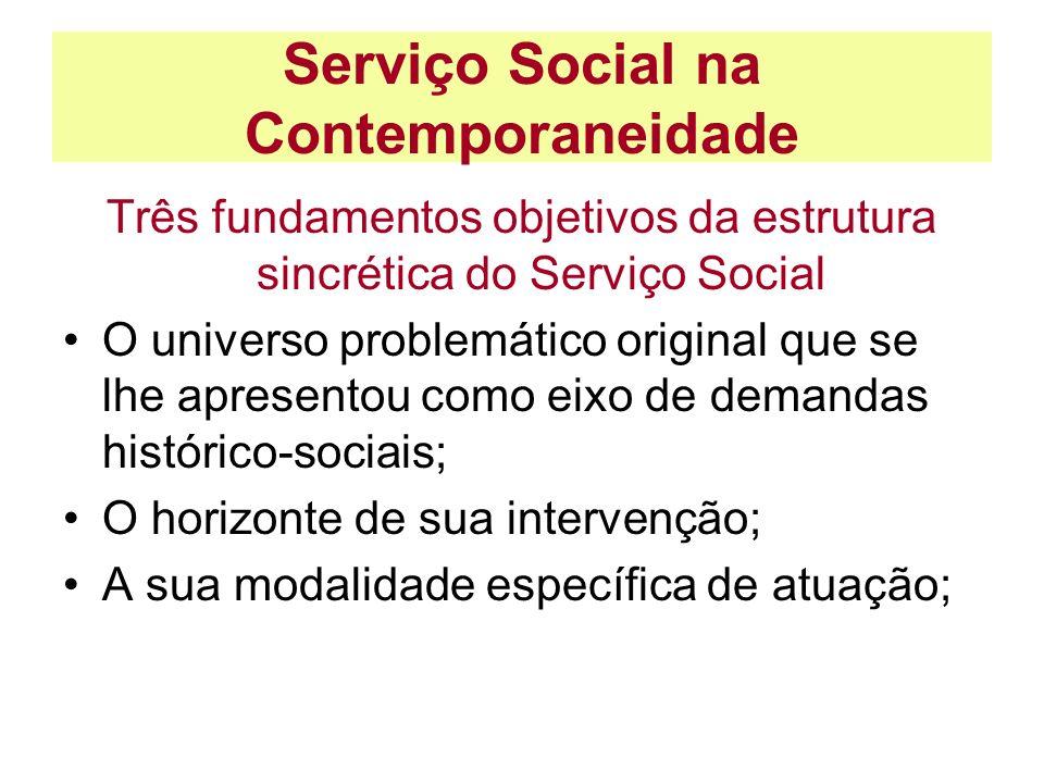 Serviço Social na Contemporaneidade Três fundamentos objetivos da estrutura sincrética do Serviço Social O universo problemático original que se lhe a