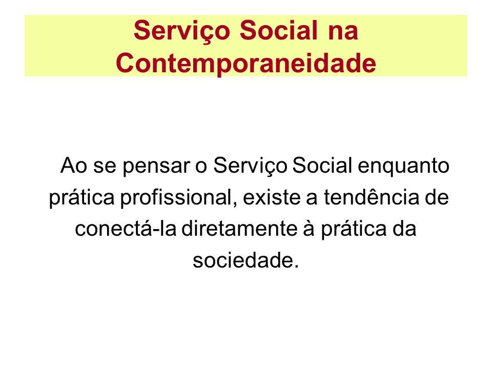 Serviço Social na Contemporaneidade Ao se pensar o Serviço Social enquanto prática profissional, existe a tendência de conectá-la diretamente à prátic