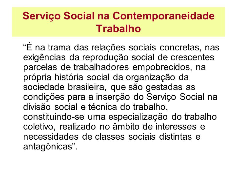 Serviço Social na Contemporaneidade Trabalho É na trama das relações sociais concretas, nas exigências da reprodução social de crescentes parcelas de