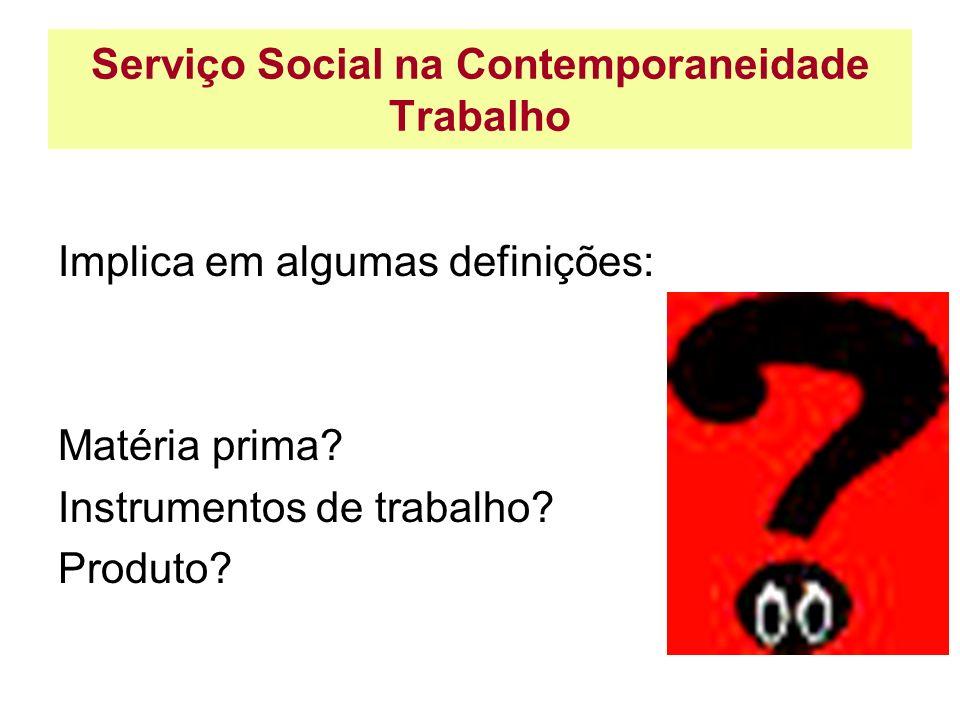 Serviço Social na Contemporaneidade Trabalho Implica em algumas definições: Matéria prima? Instrumentos de trabalho? Produto?