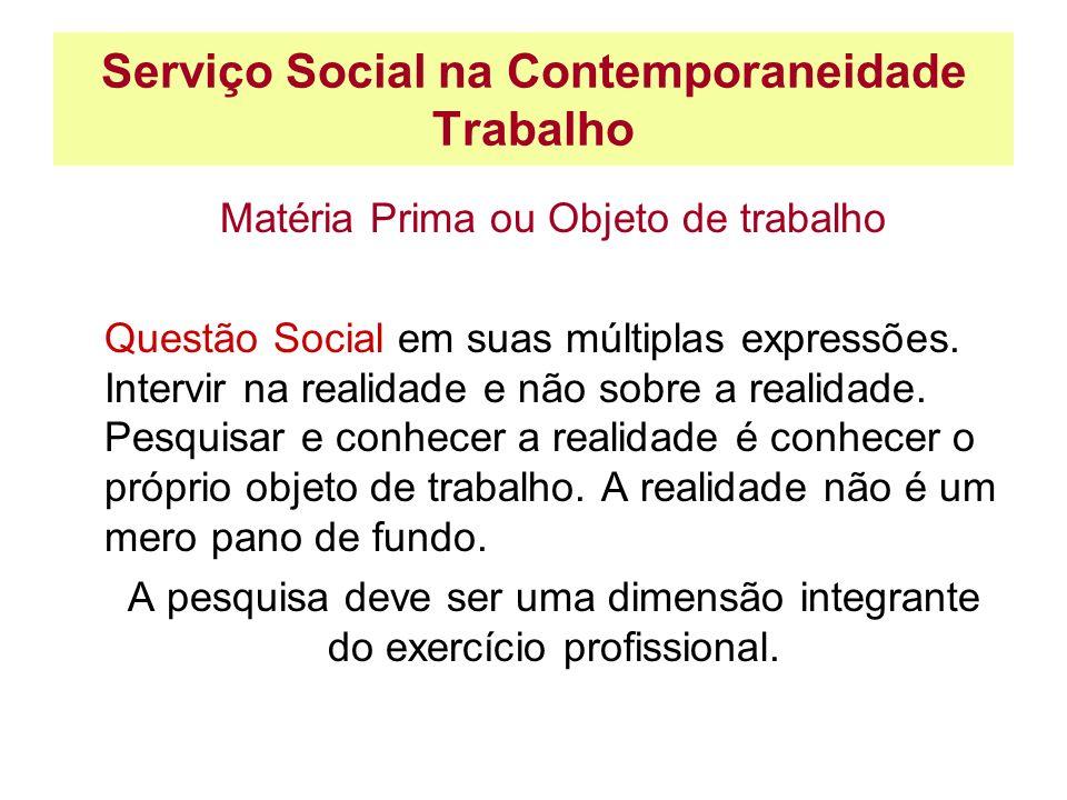 Serviço Social na Contemporaneidade Trabalho Matéria Prima ou Objeto de trabalho Questão Social em suas múltiplas expressões. Intervir na realidade e