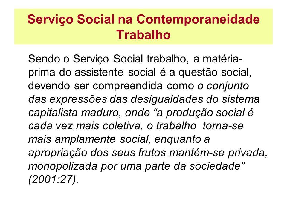 Serviço Social na Contemporaneidade Trabalho Sendo o Serviço Social trabalho, a matéria- prima do assistente social é a questão social, devendo ser co