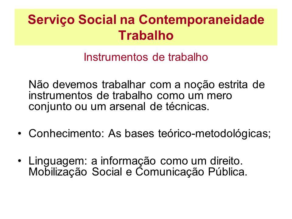 Serviço Social na Contemporaneidade Trabalho Instrumentos de trabalho Não devemos trabalhar com a noção estrita de instrumentos de trabalho como um me