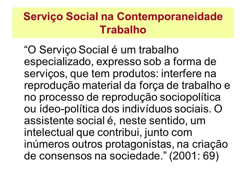 Serviço Social na Contemporaneidade Trabalho O Serviço Social é um trabalho especializado, expresso sob a forma de serviços, que tem produtos: interfe