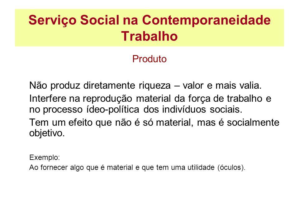 Serviço Social na Contemporaneidade Trabalho Produto Não produz diretamente riqueza – valor e mais valia. Interfere na reprodução material da força de