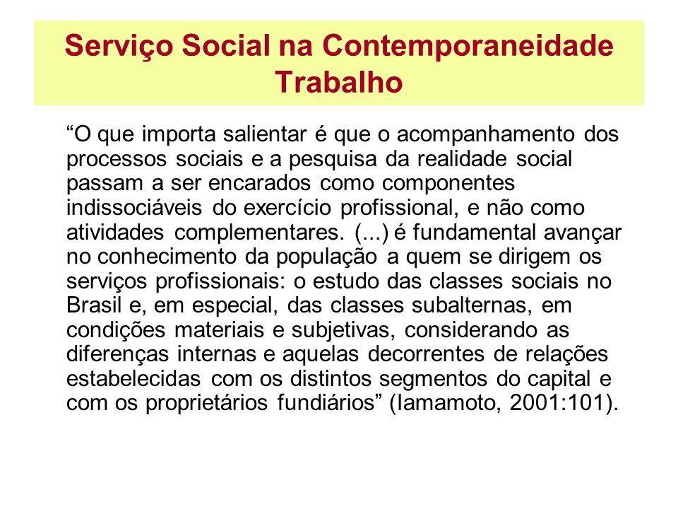 Serviço Social na Contemporaneidade Trabalho O que importa salientar é que o acompanhamento dos processos sociais e a pesquisa da realidade social pas