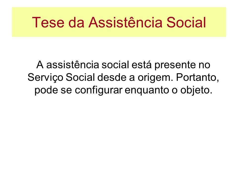 Tese da Assistência Social A assistência social está presente no Serviço Social desde a origem. Portanto, pode se configurar enquanto o objeto.