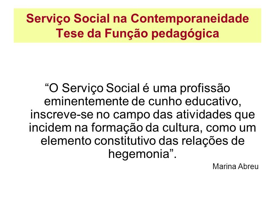 Serviço Social na Contemporaneidade Tese da Função pedagógica O Serviço Social é uma profissão eminentemente de cunho educativo, inscreve-se no campo