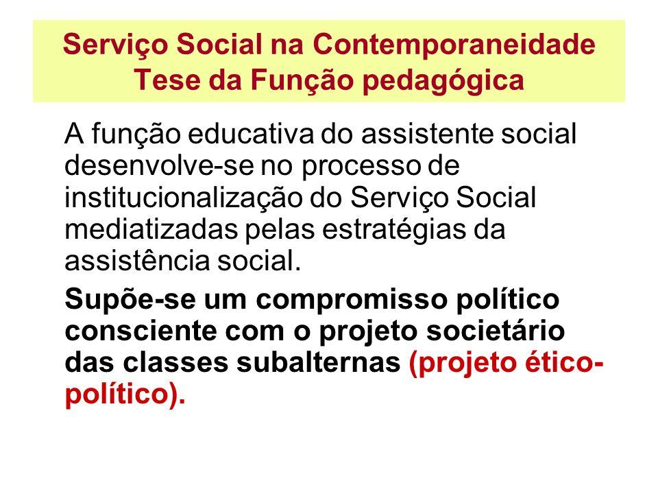 Serviço Social na Contemporaneidade Tese da Função pedagógica A função educativa do assistente social desenvolve-se no processo de institucionalização