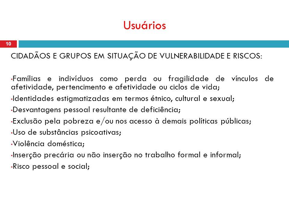 Usuários 10 CIDADÃOS E GRUPOS EM SITUAÇÃO DE VULNERABILIDADE E RISCOS: Famílias e indivíduos como perda ou fragilidade de vínculos de afetividade, per