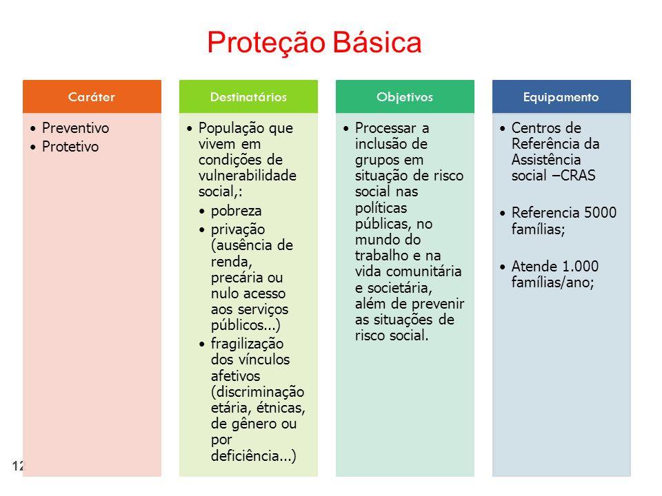 12 Caráter Preventivo Protetivo Destinatários População que vivem em condições de vulnerabilidade social,: pobreza privação (ausência de renda, precár
