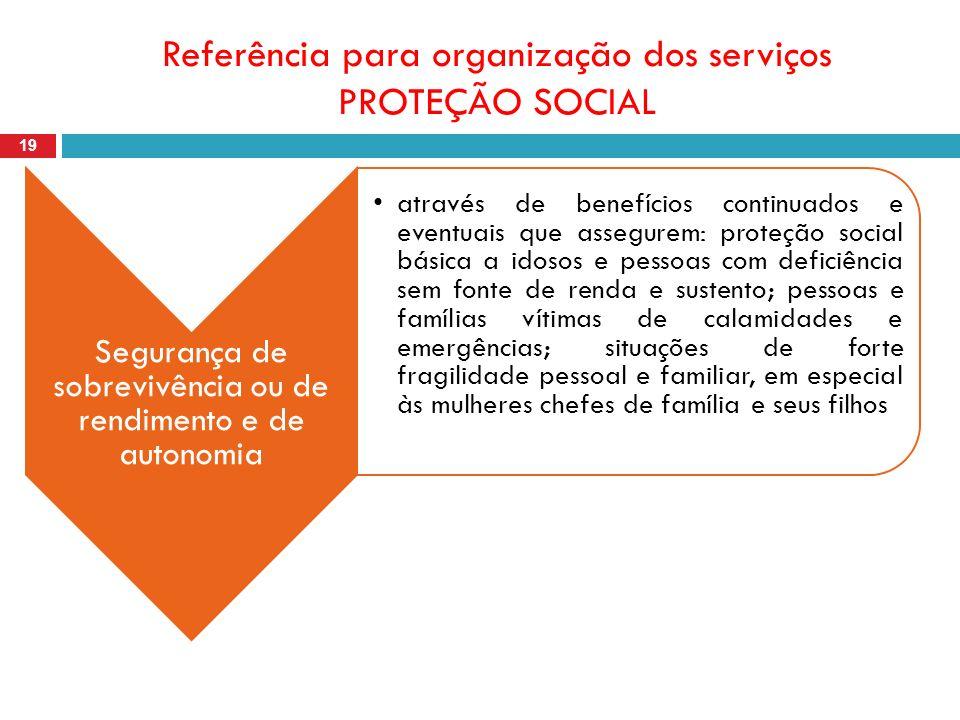 Referência para organização dos serviços PROTEÇÃO SOCIAL 19 Segurança de sobrevivência ou de rendimento e de autonomia através de benefícios continuad