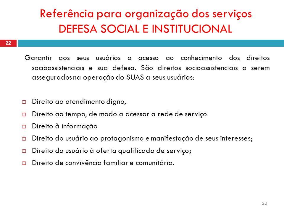 22 Referência para organização dos serviços DEFESA SOCIAL E INSTITUCIONAL 22 Garantir aos seus usuários o acesso ao conhecimento dos direitos socioassistenciais e sua defesa.