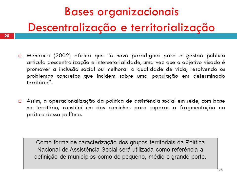 26 Bases organizacionais Descentralização e territorialização 26 Menicucci (2002) afirma que o novo paradigma para a gestão pública articula descentralização e intersetorialidade, uma vez que o objetivo visado é promover a inclusão social ou melhorar a qualidade de vida, resolvendo os problemas concretos que incidem sobre uma população em determinado território.