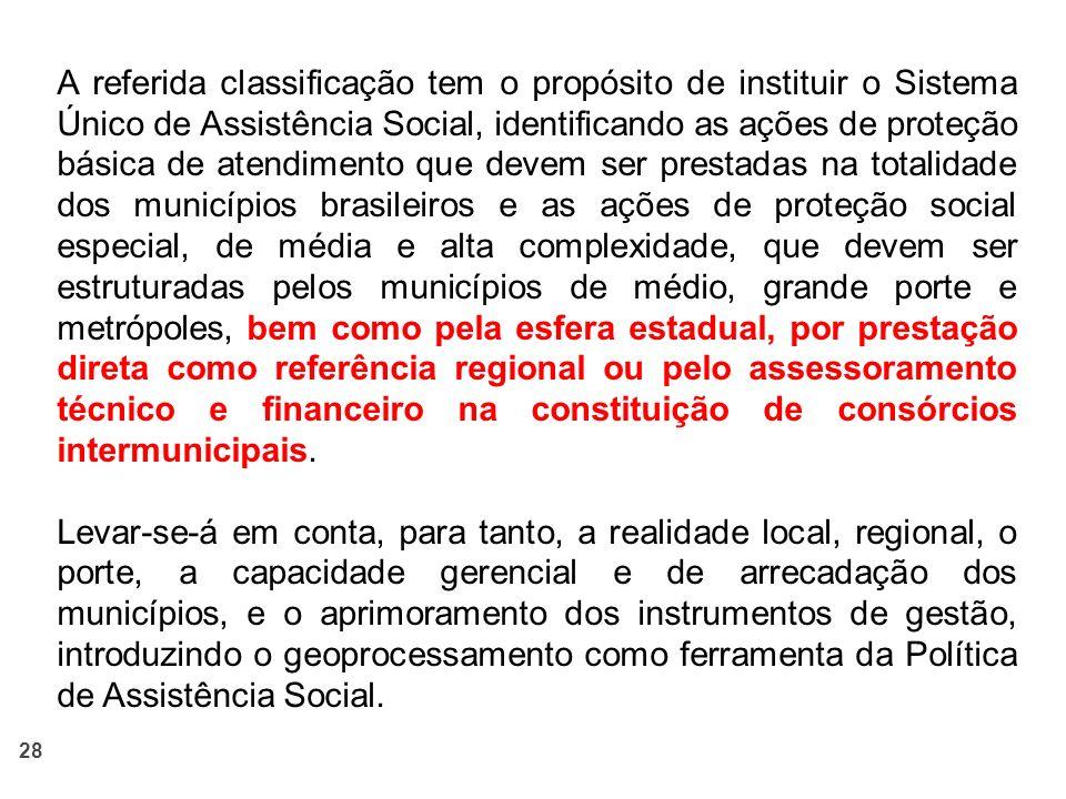 28 A referida classificação tem o propósito de instituir o Sistema Único de Assistência Social, identificando as ações de proteção básica de atendimen