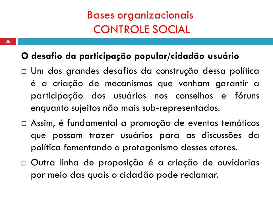 Bases organizacionais CONTROLE SOCIAL 35 O desafio da participação popular/cidadão usuário Um dos grandes desafios da construção dessa política é a criação de mecanismos que venham garantir a participação dos usuários nos conselhos e fóruns enquanto sujeitos não mais sub-representados.
