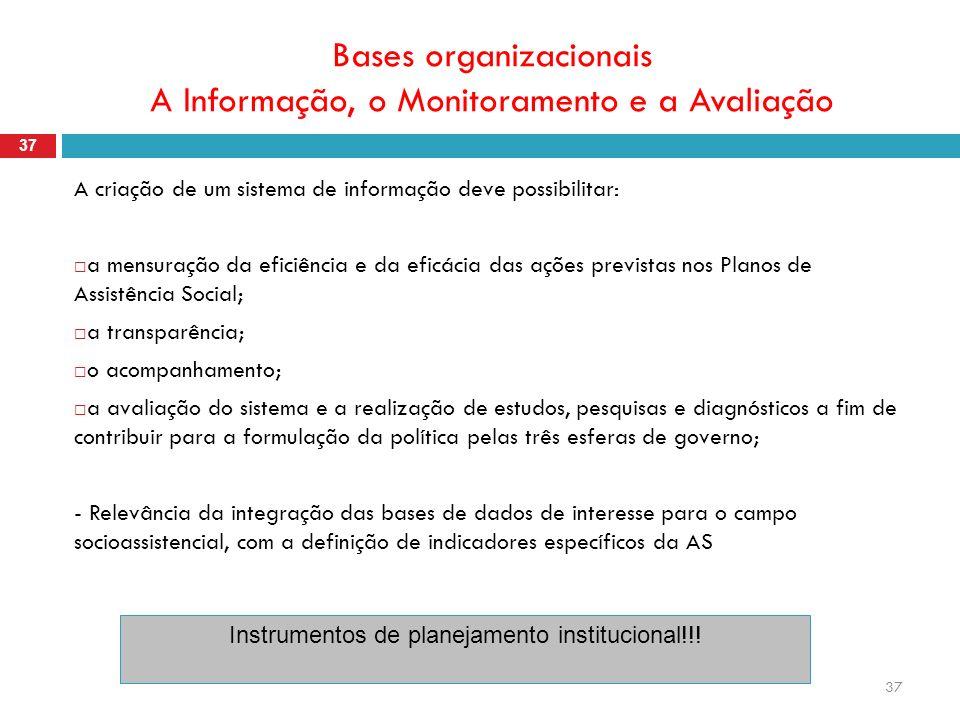 37 Bases organizacionais A Informação, o Monitoramento e a Avaliação 37 A criação de um sistema de informação deve possibilitar: a mensuração da efici