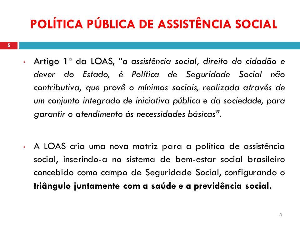 5 POLÍTICA PÚBLICA DE ASSISTÊNCIA SOCIAL 5 Artigo 1º da LOAS Artigo 1º da LOAS, a assistência social, direito do cidadão e dever do Estado, é Política