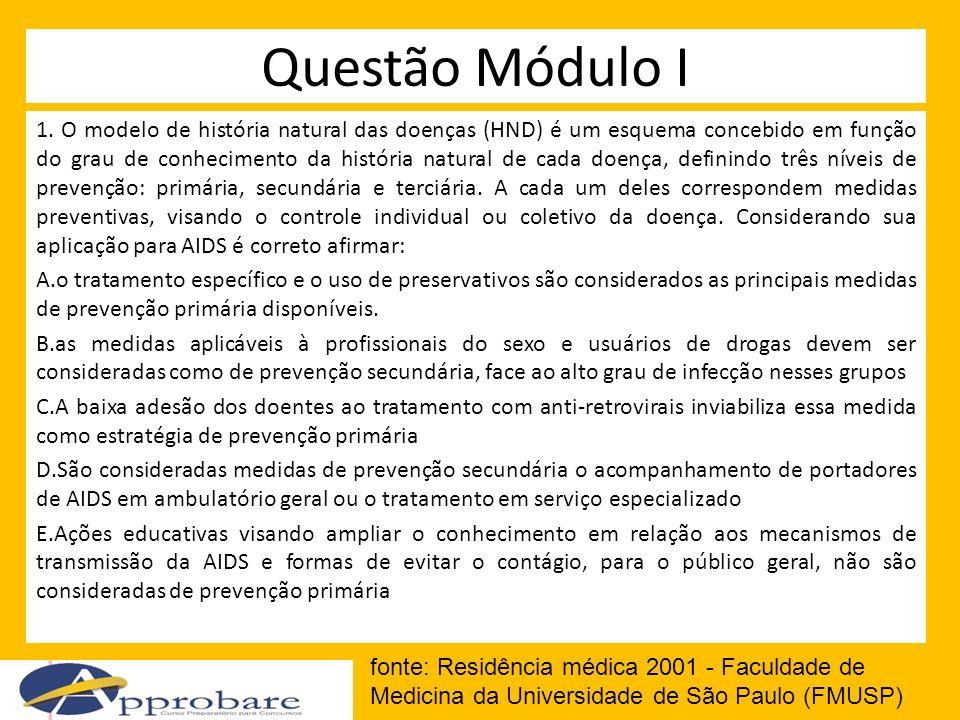 Questão Módulo I 1. O modelo de história natural das doenças (HND) é um esquema concebido em função do grau de conhecimento da história natural de cad