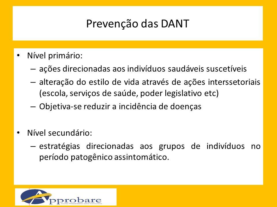 Prevenção das DANT Nível primário: – ações direcionadas aos indivíduos saudáveis suscetíveis – alteração do estilo de vida através de ações intersseto