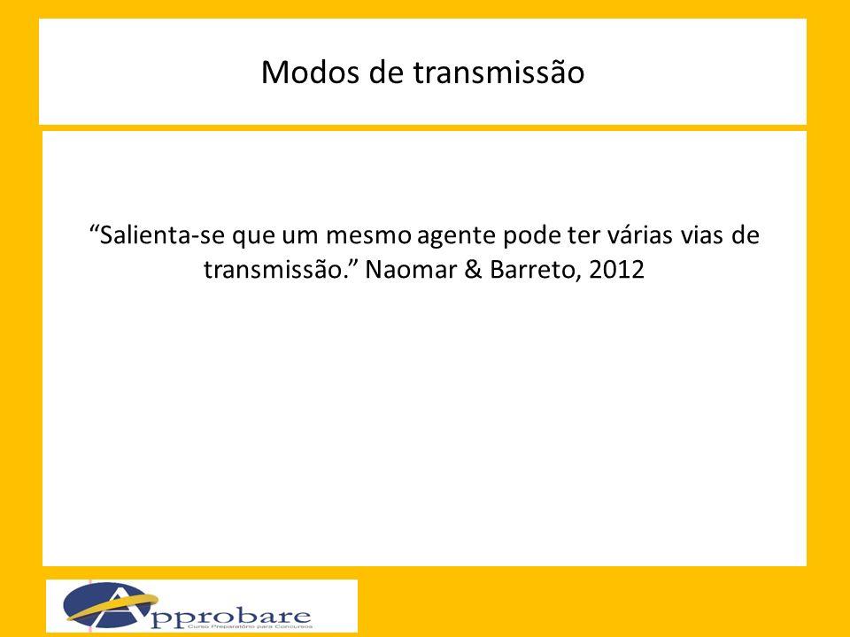 Modos de transmissão Salienta-se que um mesmo agente pode ter várias vias de transmissão. Naomar & Barreto, 2012