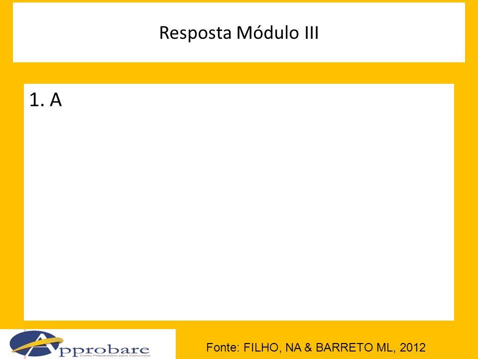 Resposta Módulo III Fonte: FILHO, NA & BARRETO ML, 2012 1. A