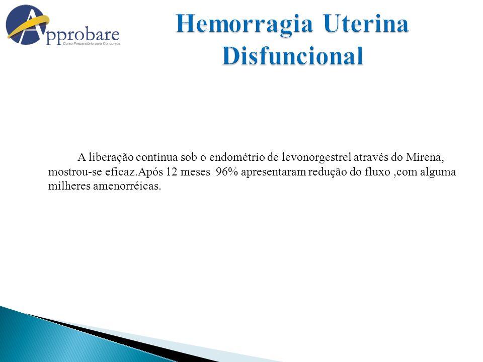 A liberação contínua sob o endométrio de levonorgestrel através do Mirena, mostrou-se eficaz.Após 12 meses 96% apresentaram redução do fluxo,com algum