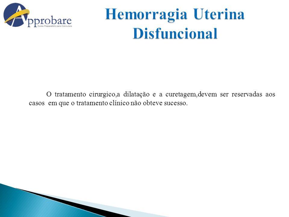 O tratamento cirurgico,a dilatação e a curetagem,devem ser reservadas aos casos em que o tratamento clínico não obteve sucesso.