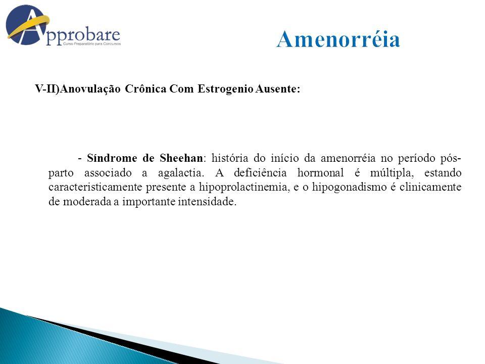 V-II)Anovulação Crônica Com Estrogenio Ausente: - Síndrome de Sheehan: história do início da amenorréia no período pós- parto associado a agalactia. A