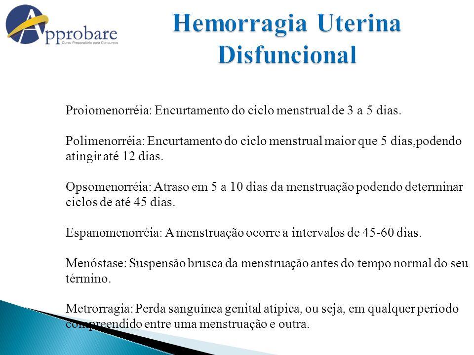 Proiomenorréia: Encurtamento do ciclo menstrual de 3 a 5 dias. Polimenorréia: Encurtamento do ciclo menstrual maior que 5 dias,podendo atingir até 12