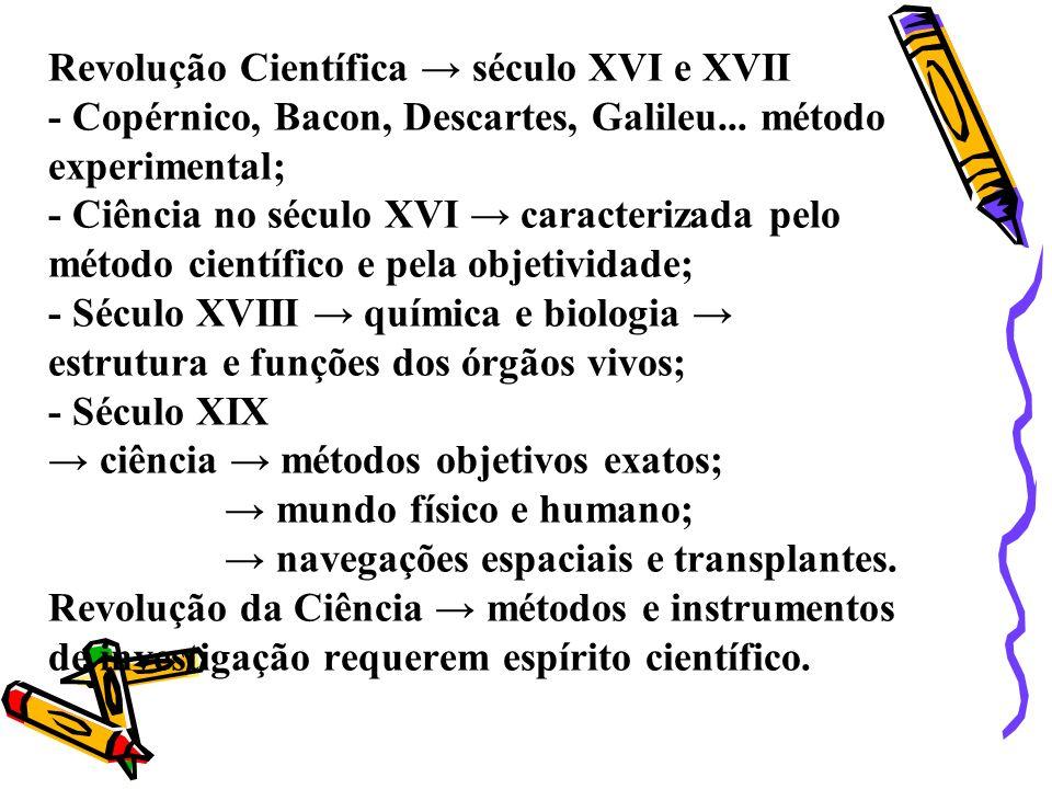 Revolução Científica século XVI e XVII - Copérnico, Bacon, Descartes, Galileu... método experimental; - Ciência no século XVI caracterizada pelo métod