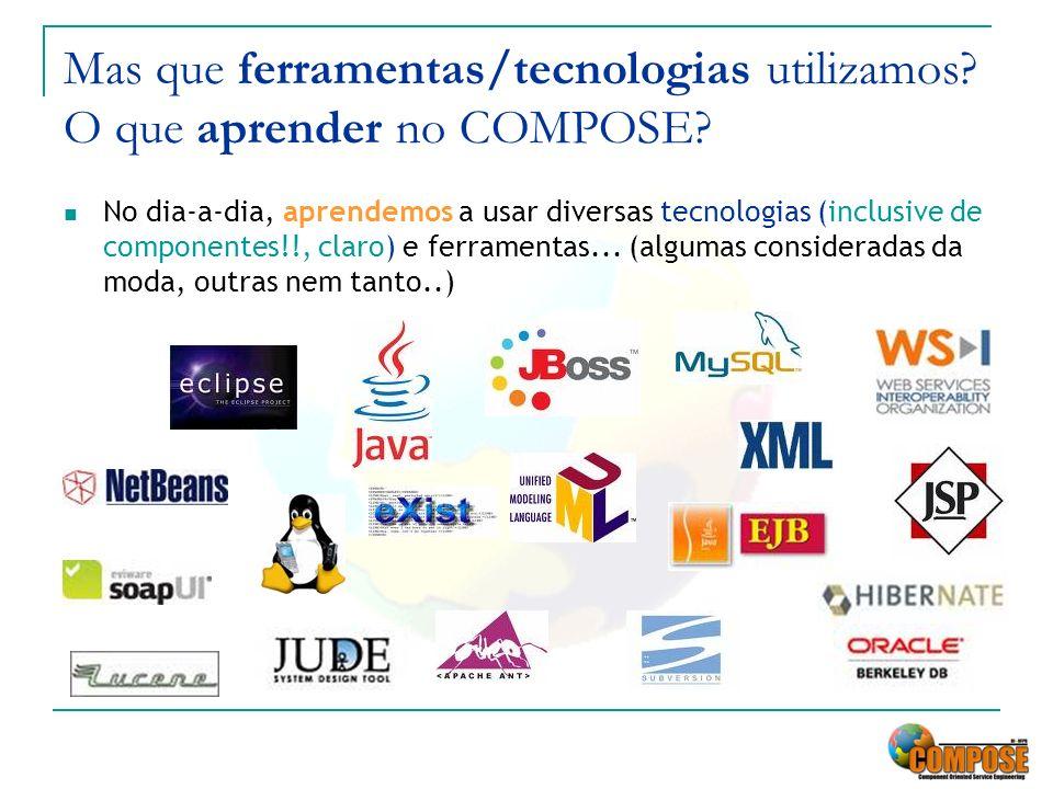 Mas que ferramentas/tecnologias utilizamos? O que aprender no COMPOSE? No dia-a-dia, aprendemos a usar diversas tecnologias (inclusive de componentes!