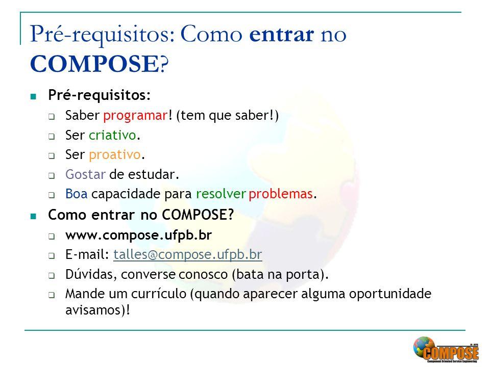 Pré-requisitos: Como entrar no COMPOSE? Pré-requisitos: Saber programar! (tem que saber!) Ser criativo. Ser proativo. Gostar de estudar. Boa capacidad