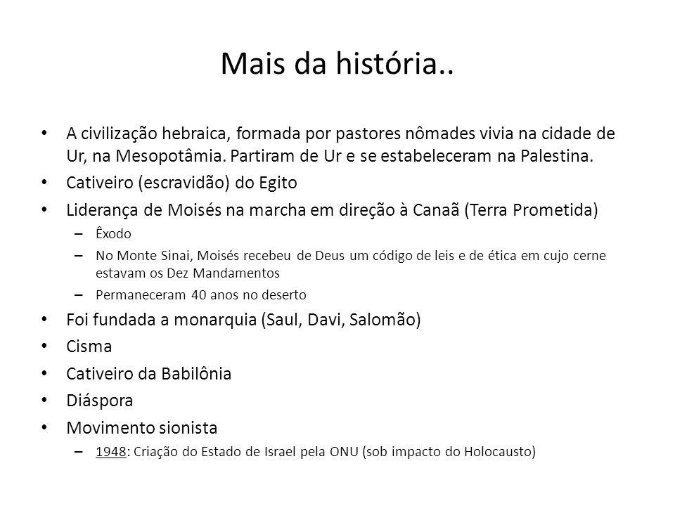 Mais da história.. A civilização hebraica, formada por pastores nômades vivia na cidade de Ur, na Mesopotâmia. Partiram de Ur e se estabeleceram na Pa