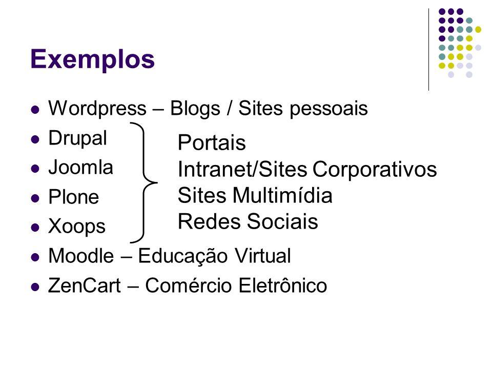 Exemplos Wordpress – Blogs / Sites pessoais Drupal Joomla Plone Xoops Moodle – Educação Virtual ZenCart – Comércio Eletrônico Portais Intranet/Sites C