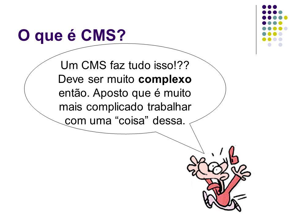 O que é CMS? Um CMS faz tudo isso!?? Deve ser muito complexo então. Aposto que é muito mais complicado trabalhar com uma coisa dessa.