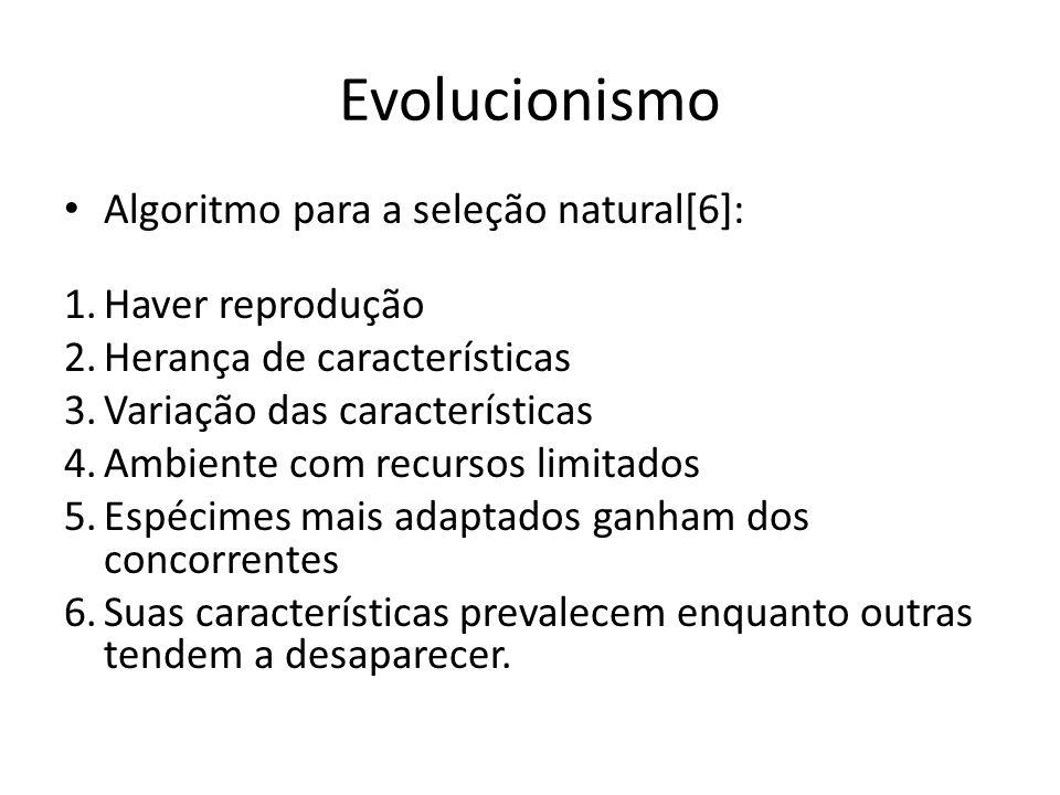 Evolucionismo Algoritmo para a seleção natural[6]: 1.Haver reprodução 2.Herança de características 3.Variação das características 4.Ambiente com recur