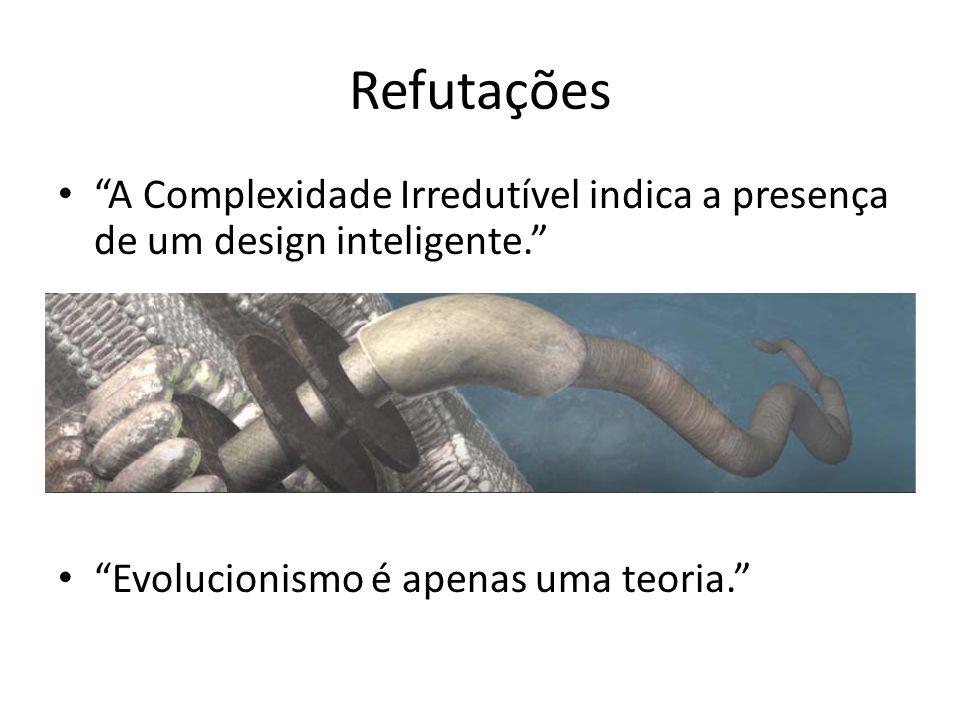 Refutações A Complexidade Irredutível indica a presença de um design inteligente. Evolucionismo é apenas uma teoria.