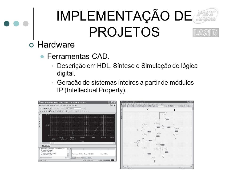 IMPLEMENTAÇÃO DE PROJETOS Hardware Ferramentas CAD.