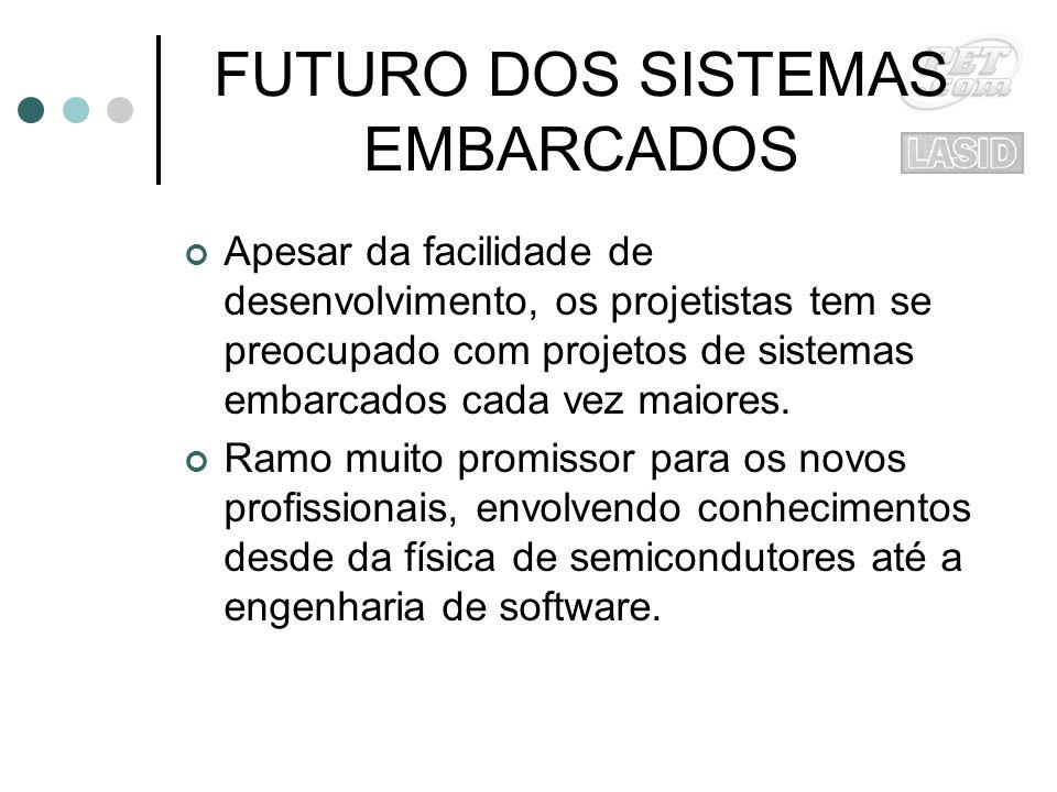 FUTURO DOS SISTEMAS EMBARCADOS Apesar da facilidade de desenvolvimento, os projetistas tem se preocupado com projetos de sistemas embarcados cada vez maiores.
