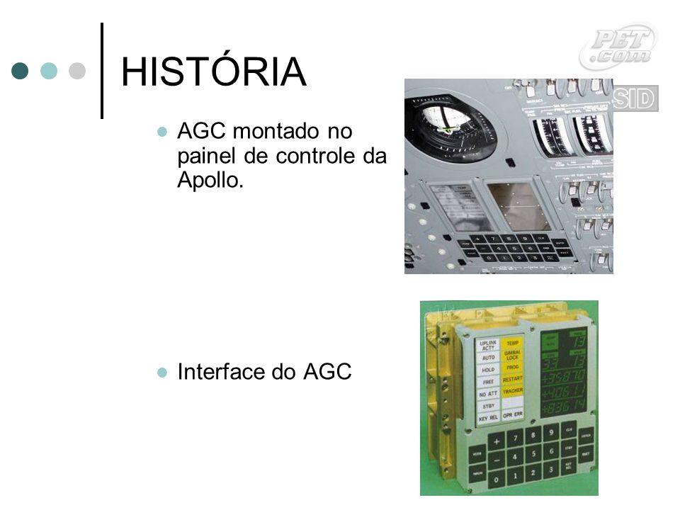HISTÓRIA AGC montado no painel de controle da Apollo. Interface do AGC
